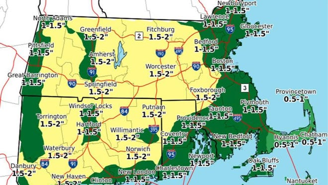 The National Weather Service is forecasting more than an inch of rain for Rhode Island Friday into Saturday.