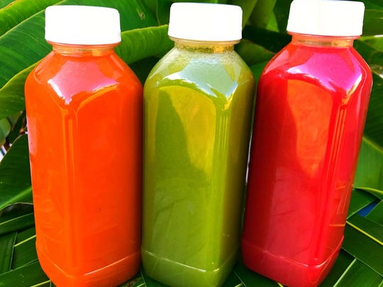 Fresku Box serves fresh raw juices: Chaife, Puntan and Fu'una.