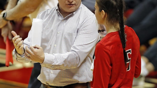Texas Tech coach Tony Graystone (5) talks to Emerson Solano (5) during a Big 12 Conference match Nov. 21, 2018  against Texas at United Supermarkets Arena. The Red Raiders are set for their regular season and Big 12 Conference home opener at 6 p.m. Thursday against West Virginia.