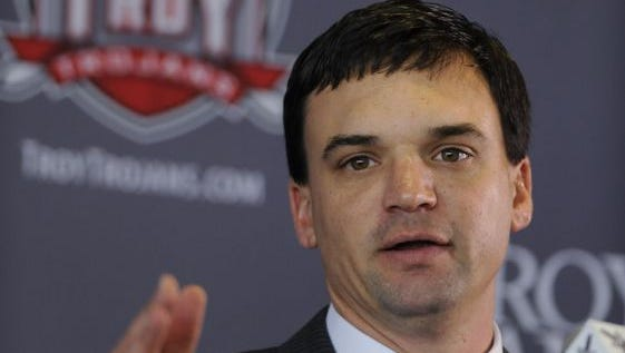 Troy coach Neal Brown will take his Trojans to Starkville to play Mississippi State on Saturday.