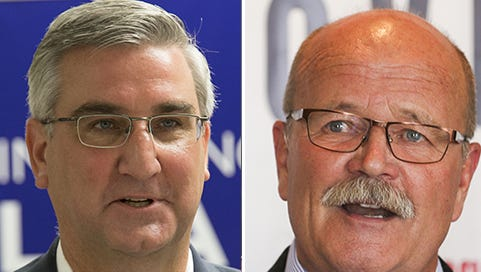 Republican Eric Holcomb (left) and Democrat John Gregg are running for Indiana governor.