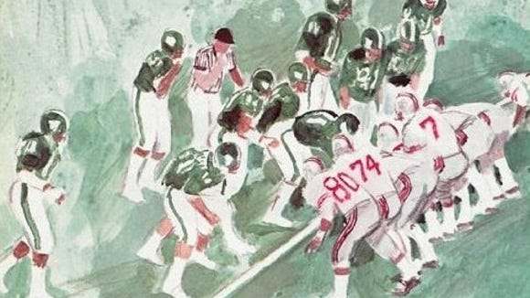 A painting of the frantic final seconds of the 1974 Michigan State-Ohio State game that accompanied the story in Sports Illustrated.