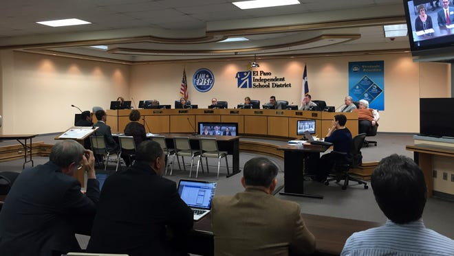 The EPISD Board of Trustees hears a presentation on a plan to close, consolidate and rebuild schools during a public meeting Monday.
