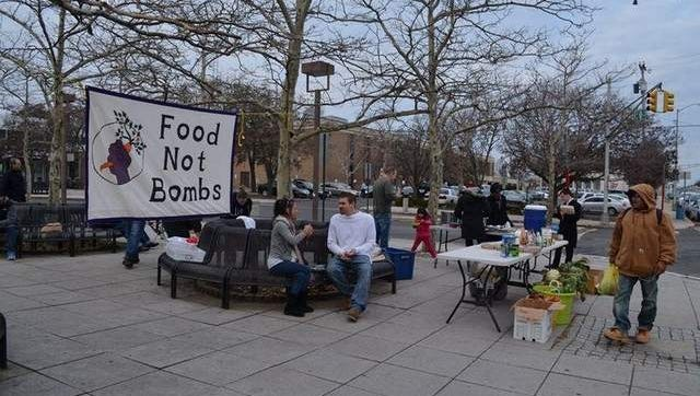 The Jersey Shore chapter of Food Not Bombs shares a free, hot vegan meal in front of the Asbury Park train station, every Sunday afternoon.