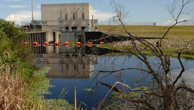 The water pump station at the South Florida Water Management District's storm-water treatment area at Ten Mile Creek in Fort Pierce.