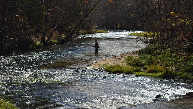 An angler tries his luck in the headwaters of the Current River near Montauk State Park.