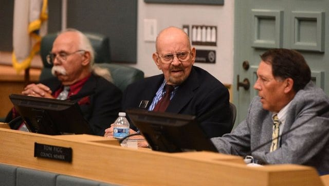 Port Hueneme City Council member Jim Hensley, center, has filed a federal lawsuit against the city. Mayor Tom Figg, at right, and council member Jon Sharkey are also shown.