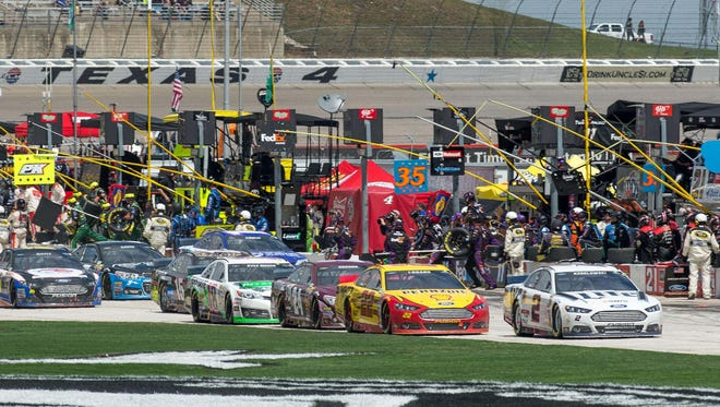 A view of pit row during the 2014 Duck Commander 500 at Texas Motor Speedway.