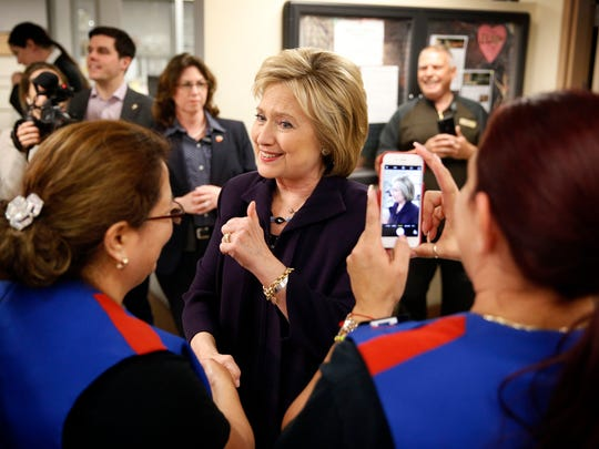 Democratic presidential candidate Hillary Clinton meets with employees of Paris Las Vegas during a visit to the hotel and casino Thursday, Feb. 18, 2016, in Las Vegas.