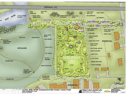 The conceptual design for the Laura & Peter Mossakowski Family Dog Park in Bellevue.