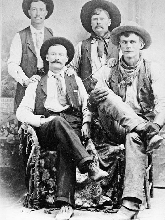 Do you know these four cowboys? Verna Mogged of the Family History Center is hoping a reader might know the identity of these four men. The photo was taken in 1898 or slightly earlier. The photo was found in the effects of the late Ginny Linn Morris, an early area pioneer, who was the niece of A.J. Crawford. If anyone can identify these men, please contact Verna Mogged at 602-904-1948.