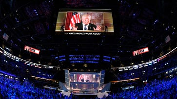 Donald Trump appears by video at the Republican National Convention Tuesday night.