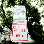 The City of Burlington designated this parking space as an electric vehicle only parking space so drivers can conveniently park and charge their vehicles.
