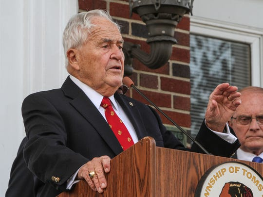 Toms River Mayor Thomas F. Kelaher speaks after the annual Veterans Day Parade in 2014.