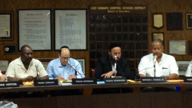 Members of the East Ramapo Board of Education at a meeting July 1, 2014.