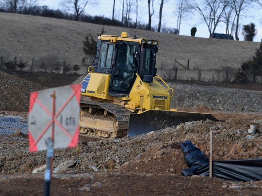 Construction at the intersection of Mule Academy and Tinkling Springs roads in Fishersville where a new hotel, retail shops and senior center are being built.