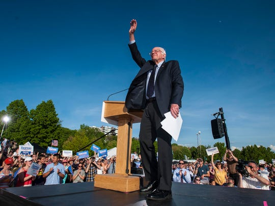 Vermont Sen. Bernie Sanders announces he is a candidate for the Democratic nomination for president at Waterfront Park in Burlington on Tuesday.