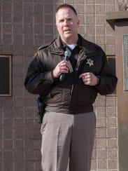 Calhoun County Sheriff Matt Saxton speaks during the