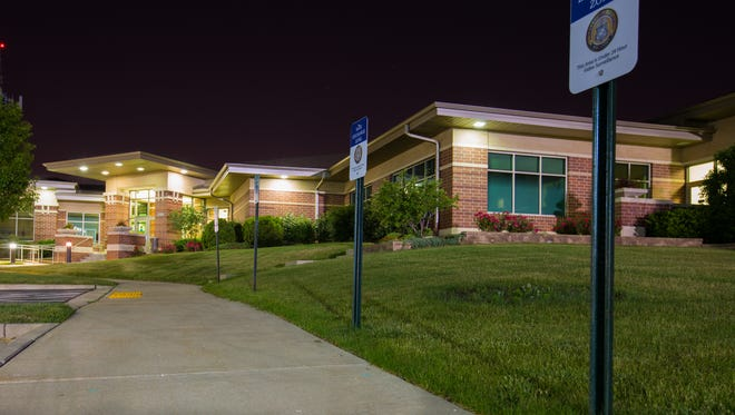 Night view of the Greenfield Law Enforcement Center