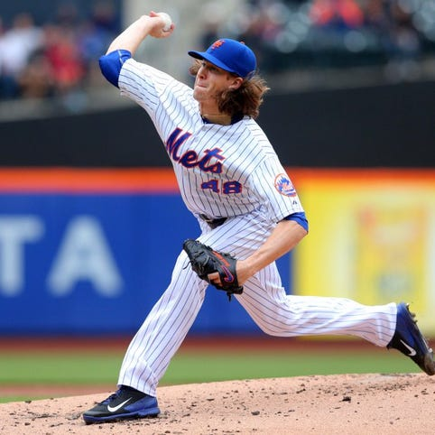 May 21, 2015; New York City, NY, USA; New York Mets starting pitcher Jacob deGrom (48) pitches against the St. Louis Cardinals during the second inning at Citi Field. Mandatory Credit: Brad Penner-USA TODAY Sports ORG XMIT: USATSI-214576 ORIG FILE ID:  20150521_jla_ae5_049.jpg