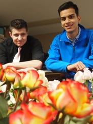 Silver Lake College students Brad Fahley, left, and