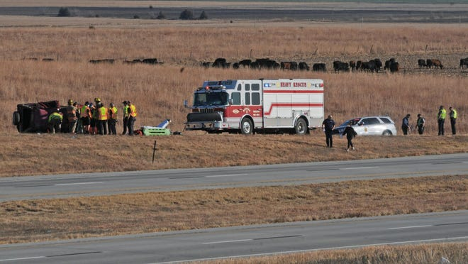 A red Honda traveling on Interstate 70 drove out of control and rolled over onto the Niles Road exit off ramp, mile post 260, at 9:20 a.m. Thursday. The Kansas Highway Patrol in Salina and Saline County emergency responders attend to one person who was ejected from the vehicle with another one was trapped inside. One person was reported as having serious injuries and another was killed.