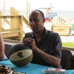 New men's basketball coach Johnny Dawkins speaks with media at the Downtown Orlando ChargeOn Tour stop Tuesday, May 17. Dawkins spent eight seasons at Stanford before moving to UCF.