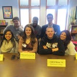 Seven graduates from the Class of 2014 returned to The Wardlaw-Hartridge School in Edison on Jan. 6 to share their early college experiences as members of a panel on College Day. From left, front row: Divya Mehta of Edison (Princeton University), Mairead Forrest of Parlin (College of the Holy Cross), Cliff O'Brien of Sayreville (Dickinson College) and Emily Wexler of Scotch Plains (University of Miami); back row: Mike Olano of South Plainfield (University of Richmond), Ishmael Menns of New Brunswick (New Jersey Institute of Technology) and Mike Anastasiou of Scotch Plains (New York University).