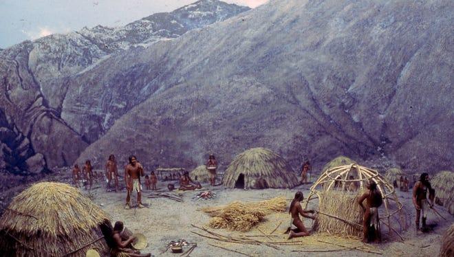 A Cahuilla village diorama on display at the Desert Museum, circa 1970.