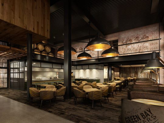 An artist's rendering of seating in the new 1919 Kitchen & Tap, which is scheduled to open this summer in the Lambeau Field Atrium.