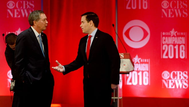 Ohio Gov. John Kasich and Florida Sen. Marco Rubio at a GOP debate on Feb. 13, 2016, in Greenville, S.C.