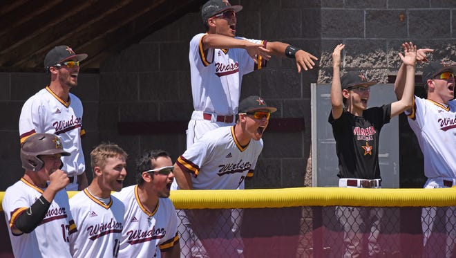 Players from the dugout erupt with joy as the Windsor High School baseball team scores three runs in the fifth inning of an April 28 home game against Holy Family. The Wizards, who open play in the Class 4A state tournament Monday in Denver, went on to win 4-1.