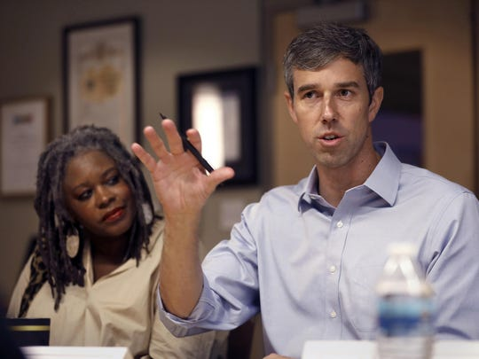 Texas Rep. Beto O'Rourke, who is seeking the Democratic nomination, visits downtown Los Angeles and the Downtown Women's Center on Tuesday, Sept. 17, 2019. He takes part in a discussion with homeless advocates. O'Rourke seems almost to have made prolific use of the F-word one of the planks of his platform.