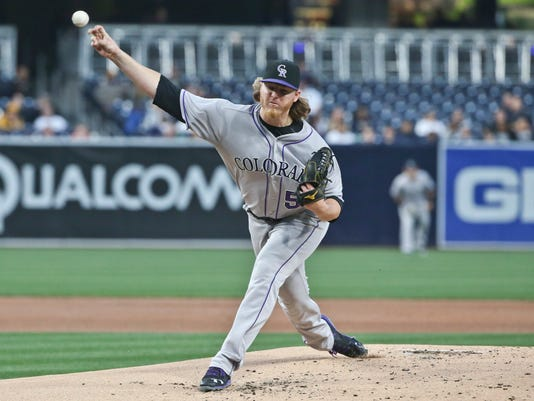 Colorado Rockies starting pitcher Jon Gray throws against the San Diego Padres in the first inning of a baseball game Monday, May 2, 2016, in San Diego. (AP Photo/Lenny Ignelzi)