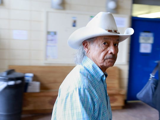 Former Navajo Nation Council Delegate George Arthur arrives at the Window Rock District Court on Wednesday in Window Rock, Ariz.