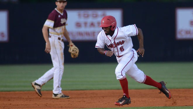 Petal's Tanner Estill runs to third base during the game played against George County in Petal on Friday night.