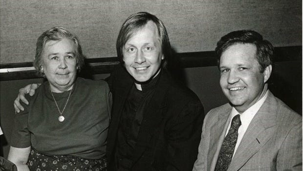 In this picture from the 1970s, Mary Catherine Strobel sits with her sons, the Rev. Charles Strobel, center, and Jerry Strobel, former longtime Grand Ole Opry director.