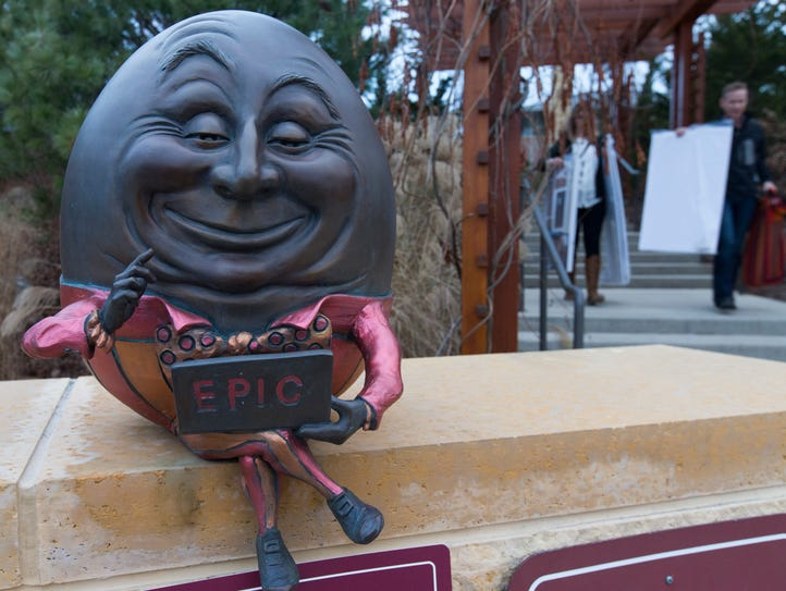 A statue of Humpty Dumpty greets visitors at Epic Systems