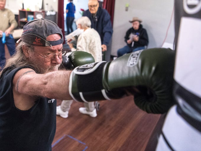 Danny Chaffin hits the punching bag during a demonstration