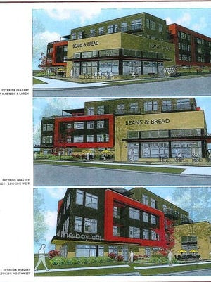 Renderings of the Bay Lofts apartment and commercial building proposed for Madison Ave. at the former Harbor Place Shoppes location.