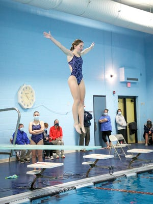 Sault High's Brianna Jones performs a dive during the opening meet of the season at Rudyard Monday. Jones and teammate Olivia Martin finished 1-2 in girls diving.