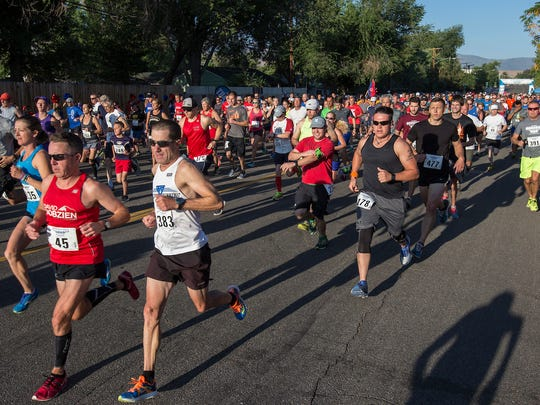 Runners start the 48th Annual Journal Jog held in Reno on Sunday, Sept. 11, 2016.