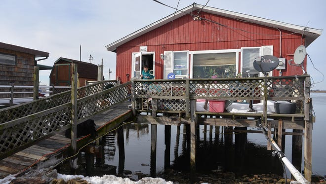 Money Island resident Jeanie Vandvelt evacuated her Downe Township home during the recent winter storm but the property received some damaged decking, Monday, Jan. 25.