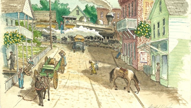 """Local artist Jerald Pope's watercolors are part of his new book, """"Step Back in Time: A Walking Tour of Black Mountain."""""""