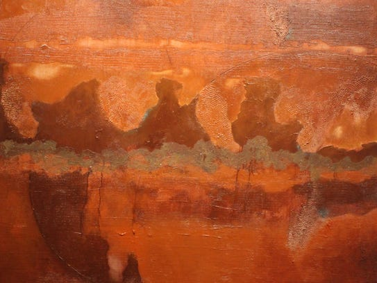 """""""Terra Cotta World,"""" acrylic and silica by Russell"""
