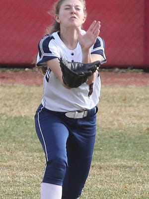 Tallmadge right fielder Chloie Brown catches a line drive by Copley's Cassie Bauer.