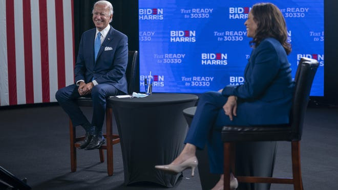 Democratic presidential candidate former Vice President Joe Biden and his running mate Sen. Kamala Harris, D-Calif., participate in a virtual grassroots fundraiser at the Hotel DuPont in Wilmington, Del., Wednesday, Aug. 12, 2020.