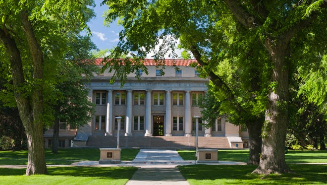 The Colorado State University Oval and Administration Building in the summer