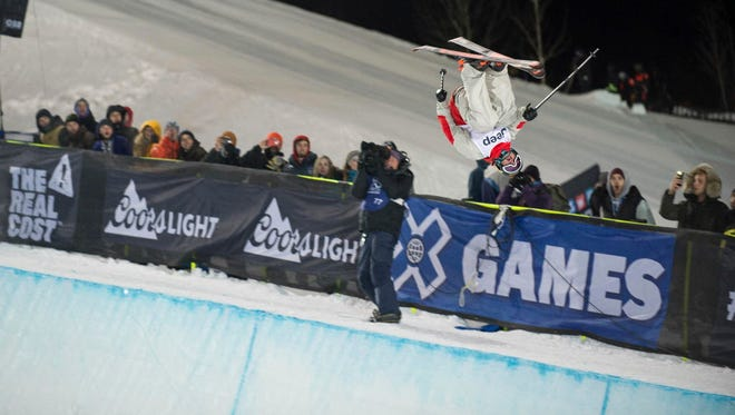 Aaron Blunck competes in the second run of the men's ski superpipe final in the Winter X Games on Friday.