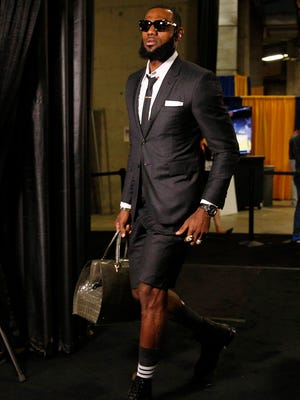 Cleveland Cavaliers forward LeBron James arrives before playing Game 1 of the 2018 NBA Finals.